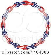 Clipart Of A Blue Red And White Nautical Frame Made Of Chains Royalty Free Vector Illustration by inkgraphics