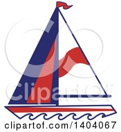 Clipart Of A Blue Red And White Nautical Sailboat Royalty Free Vector Illustration by inkgraphics