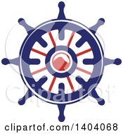 Clipart Of A Blue Red And White Nautical Helm Royalty Free Vector Illustration by inkgraphics