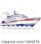 Clipart Of A Blue Red And White Nautical Yacht Or Cruise Ship Royalty Free Vector Illustration by inkgraphics