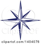 Clipart Of A Blue And White Nautical Star Royalty Free Vector Illustration