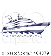 Clipart Of A Blue And White Nautical Yacht Or Cruise Ship Royalty Free Vector Illustration by inkgraphics