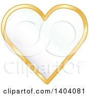 Clipart Of A White Heart In A Gold Frame Royalty Free Vector Illustration