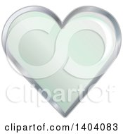 Clipart Of A Green Heart In A Silver Frame Royalty Free Vector Illustration