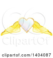 Clipart Of A Winged White Heart In A Gold Frame Royalty Free Vector Illustration