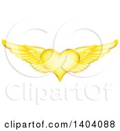 Clipart Of A Winged Gold Heart Royalty Free Vector Illustration