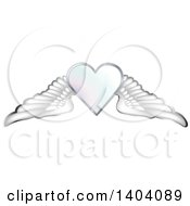 Clipart Of A Winged White Heart With Wings Royalty Free Vector Illustration