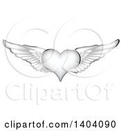 Clipart Of A Winged Silver Heart With Wings Royalty Free Vector Illustration