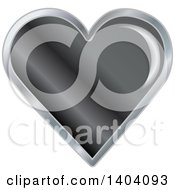 Clipart Of A Black Heart In A Silver Frame Royalty Free Vector Illustration