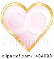 Clipart Of A Pink Heart In A Gold Frame Royalty Free Vector Illustration