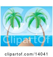 Pretty Young Blond Woman In A White Bikini Sitting On The Edge Of A Dock Between Two Palm Trees And Watching A Sailboat On The Horizon Clipart Illustration