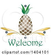 Clipart Of A Pineapple Welcome Design Royalty Free Vector Illustration by inkgraphics