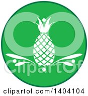 Clipart Of A Green And White Round Pineapple Design Royalty Free Vector Illustration by inkgraphics