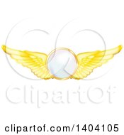 Clipart Of A Circle With Gold Wings Royalty Free Vector Illustration by inkgraphics