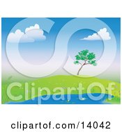 Lone Tree On A Hill Over A Pond Surrounded By Wild Flowers Clipart Illustration