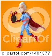 Clipart Of A 3d Young White Haired Caucasian Female Super Hero In A Blue And Red Suit Royalty Free Illustration