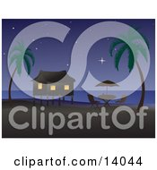 Poster, Art Print Of Night Time Tropical Beach Scene Of A Table With An Umbrella Near A Vacation Hut On Stilts Under The Stars On An Island With Palm Trees