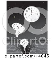 Clocks Sinking Into A Time Warp Over A Starry Night Sky Clipart Illustration