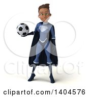 Clipart Of A 3d Young Female Indian Super Hero In A Dark Blue Suit On A White Background Royalty Free Illustration