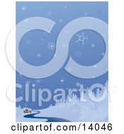 Snowflakes Falling Over A Remote Cabin On A River Near A Forest In The Winter Clipart Illustration