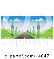 Strait Tree Lined Road Leading Forward Clipart Illustration