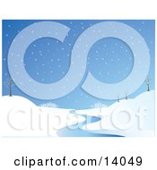 Wintry Snowflakes Falling On A Landscape With Bare Trees And A Winding Stream Clipart Illustration