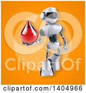 Clipart Of A 3d White And Blue Robot Royalty Free Illustration