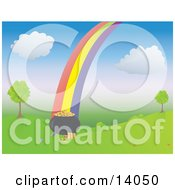 Colorful Rainbow Leading To A Full Pot Of Gold By Trees On A Grassy Hill Clipart Illustration