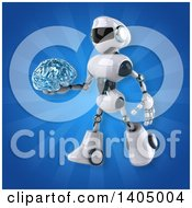 Clipart Of A 3d White And Blue Robot Royalty Free Illustration by Julos