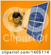 Clipart Of A 3d Sun Character And Solar Panel Royalty Free Illustration