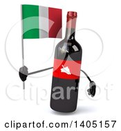 Clipart Of A 3d Wine Bottle Mascot On A White Background Royalty Free Illustration