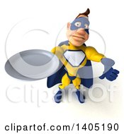 Clipart Of A 3d Muscular White Male Super Hero In A Yellow And Blue Suit On A White Background Royalty Free Illustration