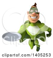 Clipart Of A 3d Buff Caucasian Green Super Hero Man On A White Background Royalty Free Illustration