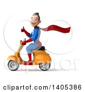 Clipart Of A 3d Young Brunette White Male Super Hero In A Blue And Red Suit Riding A Scooter On A White Background Royalty Free Illustration