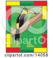 Stained Glass Window Of A Colorful Toucan Bird Perched On A Tree Branch With A Border Of Yellow Green And Red Rectangles