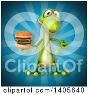 Clipart Of A 3d Green Gecko Lizard Royalty Free Illustration