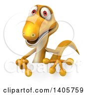 Clipart Of A 3d Yellow Gecko Lizard On A White Background Royalty Free Illustration