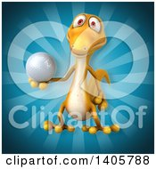 Clipart Of A 3d Yellow Gecko Lizard Royalty Free Illustration