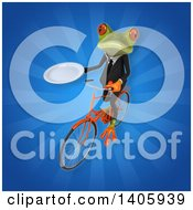 Clipart Of A 3d Green Business Frog Riding A Bicycle Royalty Free Illustration