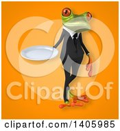 Clipart Of A 3d Green Business Frog Royalty Free Illustration