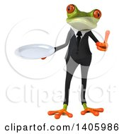 Clipart Of A 3d Green Business Frog On A White Background Royalty Free Illustration