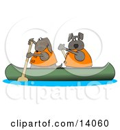 Two Dogs In Lifejackets Paddling A Canoe And Looking Back