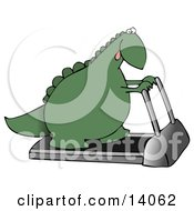 Green Dino Exercising On A Treadmill Machine In A Fitness Gym