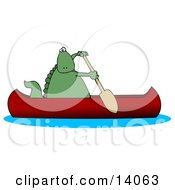 Green Dino Paddling A Red Canoe