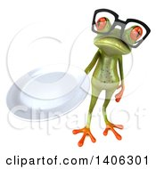 Clipart Of A 3d Green Frog On A White Background Royalty Free Illustration