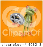 Clipart Of A 3d Green Frog Royalty Free Illustration by Julos