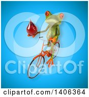 Clipart Of A 3d Green Frog Riding A Bicycle Royalty Free Illustration