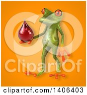 Clipart Of A 3d Green Frog Royalty Free Illustration