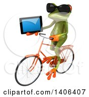 Clipart Of A 3d Green Springer Frog Riding A Bicycle On A White Background Royalty Free Illustration by Julos
