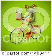 Clipart Of A 3d Green Frog Riding A Bicycle Royalty Free Illustration by Julos